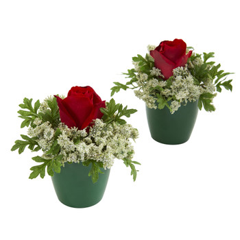 Elegant Rose Artificial Arrangement in Green Planter Set of 2 - SKU #1641-S2