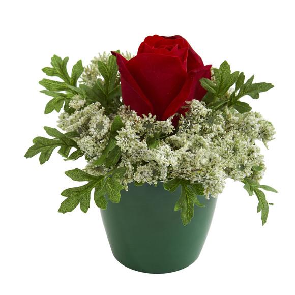 Elegant Rose Artificial Arrangement in Green Planter Set of 2 - SKU #1641-S2 - 1