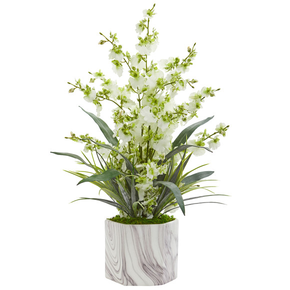 Dancing Lady Orchid Artificial Arrangement in Marble Finished Vase - SKU #1642 - 3