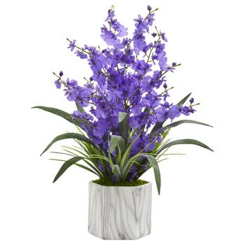 Dancing Lady Orchid Artificial Arrangement in Marble Finished Vase - SKU #1642-PP