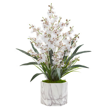 Dancing Lady Orchid Artificial Arrangement in Marble Finished Vase - SKU #1642-WH