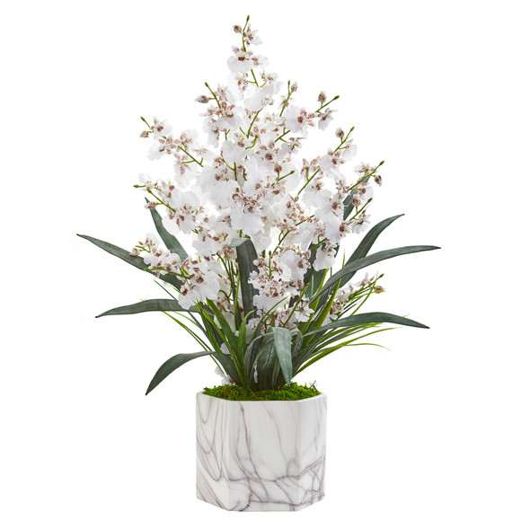Dancing Lady Orchid Artificial Arrangement in Marble Finished Vase - SKU #1642