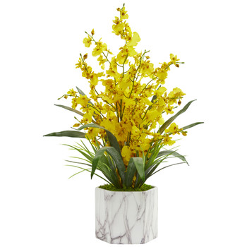Dancing Lady Orchid Artificial Arrangement in Marble Finished Vase - SKU #1642-YL