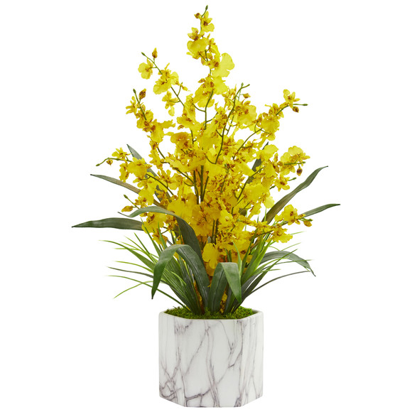Dancing Lady Orchid Artificial Arrangement in Marble Finished Vase - SKU #1642 - 2