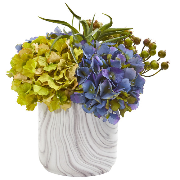 Hydrangea and Berries Artificial Arrangement in Marble Finished Vase - SKU #1643-BL