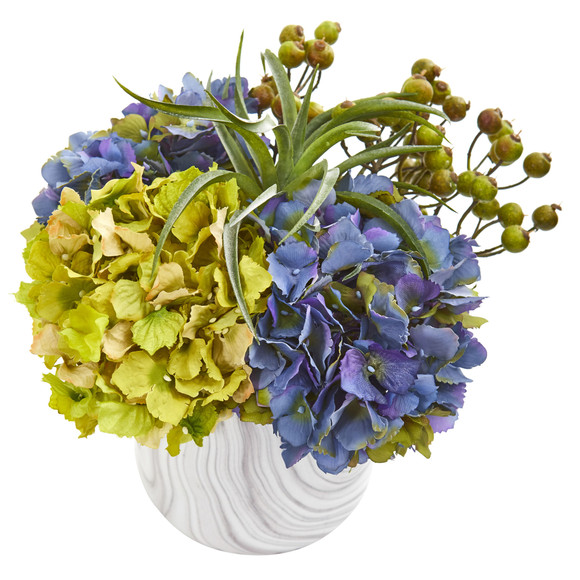 Hydrangea and Berries Artificial Arrangement in Marble Finished Vase - SKU #1643-BL - 1
