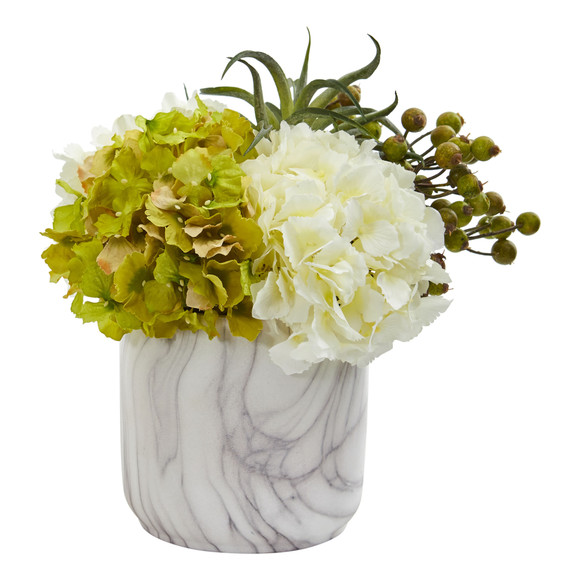 Hydrangea and Berries Artificial Arrangement in Marble Finished Vase - SKU #1643 - 4