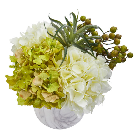Hydrangea and Berries Artificial Arrangement in Marble Finished Vase - SKU #1643 - 5