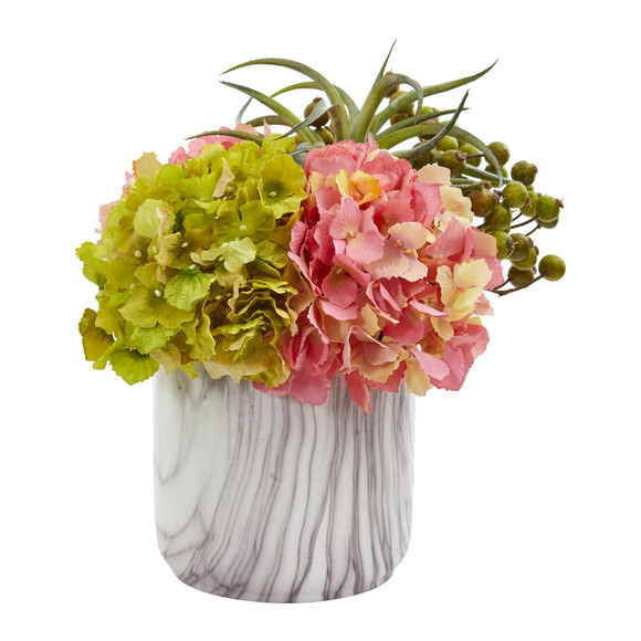 Hydrangea and Berries Artificial Arrangement in Marble Finished Vase - SKU #1643