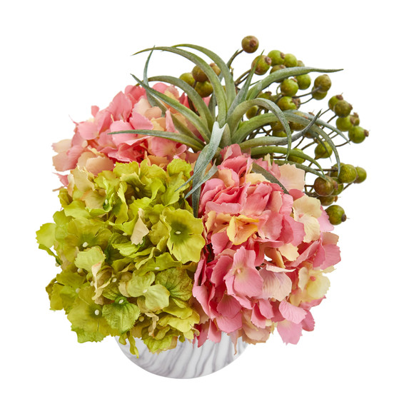 Hydrangea and Berries Artificial Arrangement in Marble Finished Vase - SKU #1643 - 1