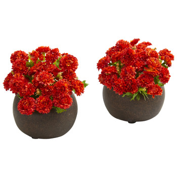 Japanese Artificial Arrangement in Brown Planter Set of 2 - SKU #1645-S2