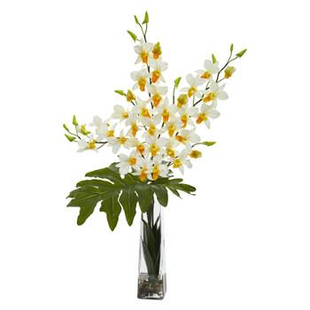 Dendrobium Tropical Orchid Artificial Arrangement in Vase - SKU #1646-CR