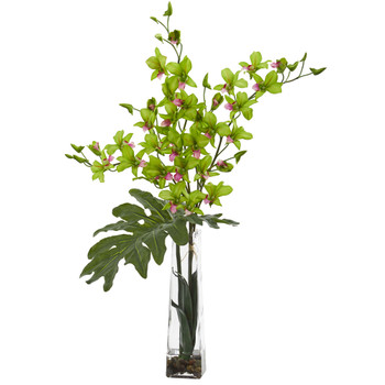 Dendrobium Tropical Orchid Artificial Arrangement in Vase - SKU #1646-GR