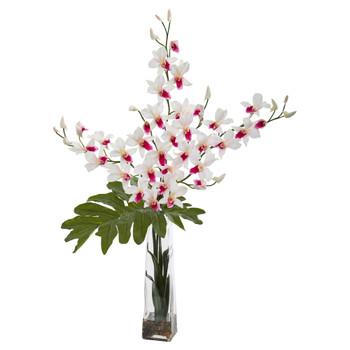 Dendrobium Tropical Orchid Artificial Arrangement in Vase - SKU #1646