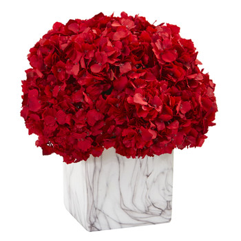 Red Hydrangea Artificial Arrangement in Marble Vase - SKU #1648