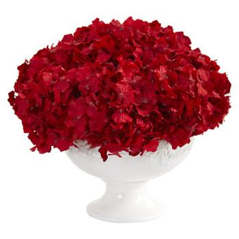 12 Red Hydrangea Artificial Arrangement in Pedestal Vase - SKU #1649