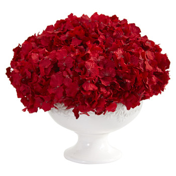 12 Red Hydrangea Artificial Arrangement in Pedestal Vase - SKU #1649