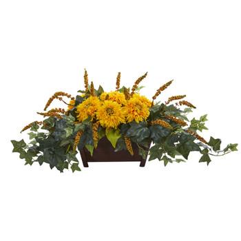 Sunflower Artificial Arrangement in Decorative Planter - SKU #1650-YL
