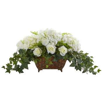 Hydrangea Roses Artificial Arrangement in Metal Planter - SKU #1651-WH