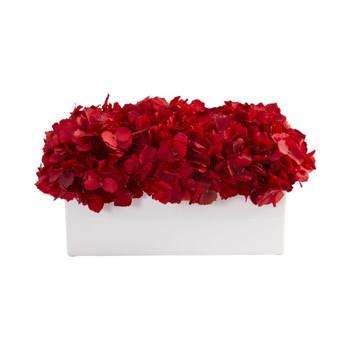 Red Hydrangea Artificial Arrangement in Ceramic Vase - SKU #1652