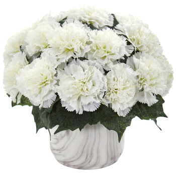 Carnation Artificial Arrangement in Marble Finished Vase - SKU #1653-CR