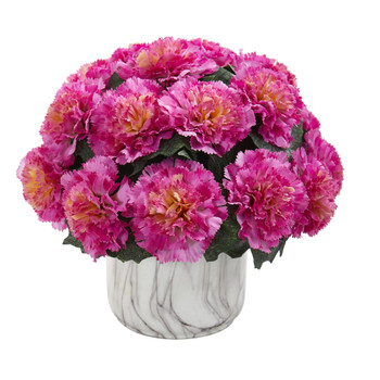 Carnation Artificial Arrangement in Marble Finished Vase - SKU #1653