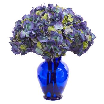 Hydrangea Artificial Arrangement in Blue Vase - SKU #1655-BL