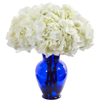 Hydrangea Artificial Arrangement in Blue Vase - SKU #1655