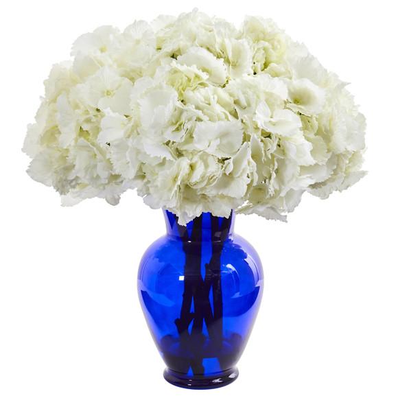 Hydrangea Artificial Arrangement in Blue Vase - SKU #1655