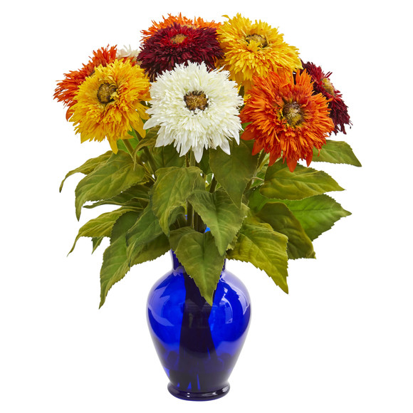 Sunflower Artificial Arrangement in Blue Vase - SKU #1656 - 3