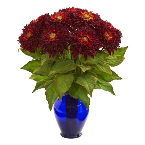 Sunflower Artificial Arrangement in Blue Vase - SKU #1656