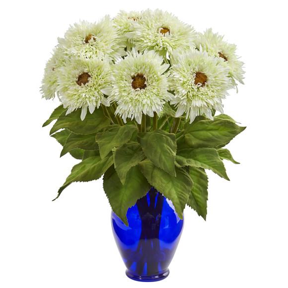 Sunflower Artificial Arrangement in Blue Vase - SKU #1656 - 1