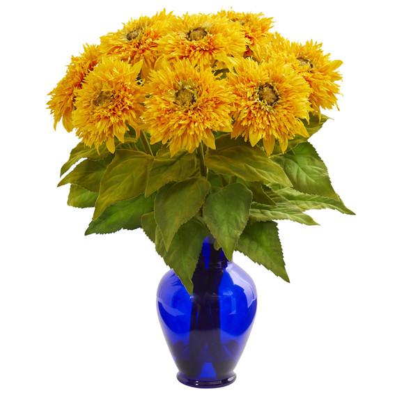 Sunflower Artificial Arrangement in Blue Vase - SKU #1656 - 2