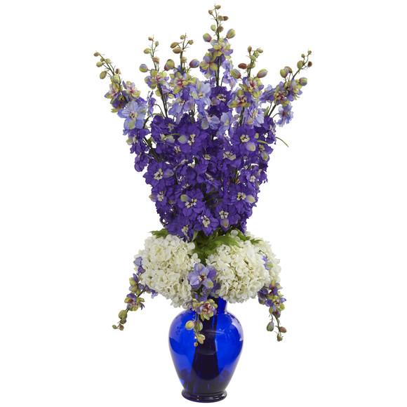 Delphinium and Hydrangea Artificial Arrangement in Blue Vase - SKU #1657 - 1