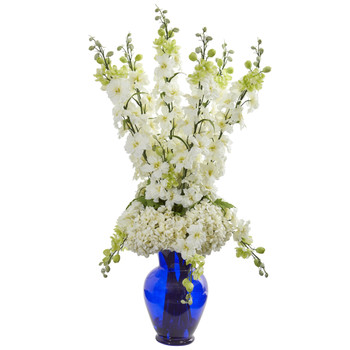 Delphinium and Hydrangea Artificial Arrangement in Blue Vase - SKU #1657