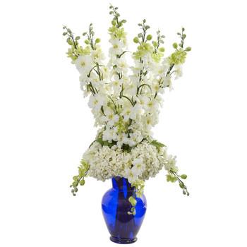 Delphinium and Hydrangea Artificial Arrangement in Blue Vase - SKU #1657-WH