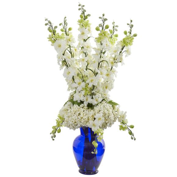 Delphinium and Hydrangea Artificial Arrangement in Blue Vase - SKU #1657