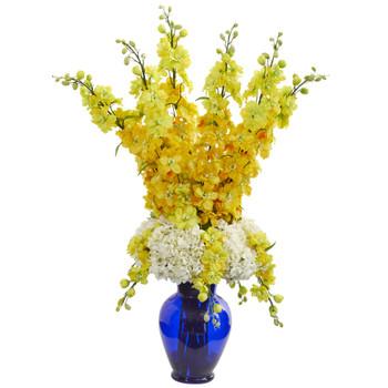 Delphinium and Hydrangea Artificial Arrangement in Blue Vase - SKU #1657-YL