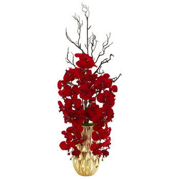 Red Phalaenopsis Orchid Artificial Arrangement in Gold Vase - SKU #1658