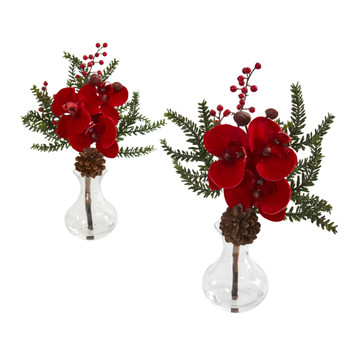 Phalaenopsis Orchid Berry and Pine Artificial Arrangement Set of 2 - SKU #1659-S2