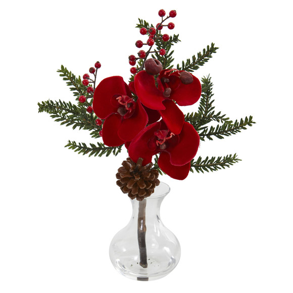 Phalaenopsis Orchid Berry and Pine Artificial Arrangement Set of 2 - SKU #1659-S2 - 1