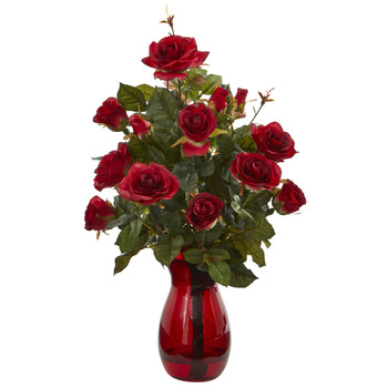 Garden Rose Artificial Arrangement in Red Vase - SKU #1660
