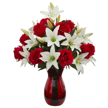 Roses Lilies Artificial Arrangement in Red Vase - SKU #1661