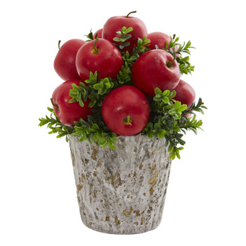 Apples and Boxwood Artificial Arrangement Weather Planter - SKU #1664