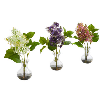 Lilac Artificial Arrangement in Vase Set of 3 - SKU #1667-S3