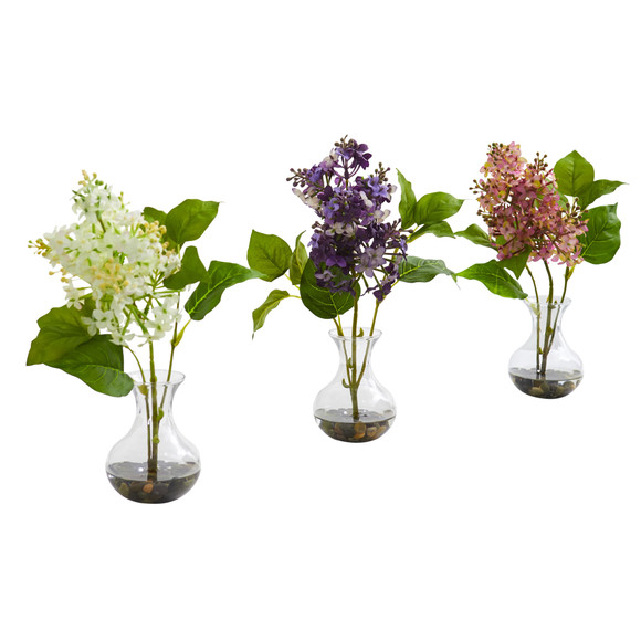 Lilac Artificial Arrangement in Vase Set of 3 - SKU #1667-S3