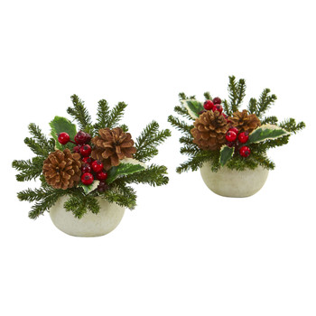 Christmas Inspired Artificial Arrangement in Ceramic Vase Set of 2 - SKU #1668-S2