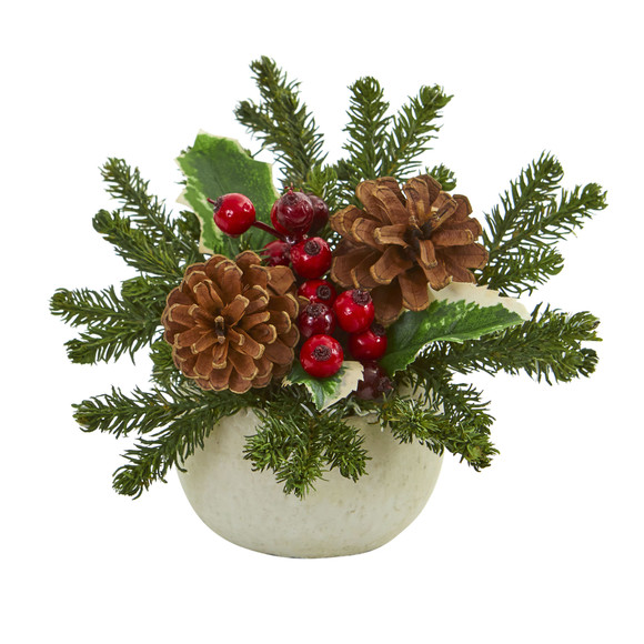 Christmas Inspired Artificial Arrangement in Ceramic Vase Set of 2 - SKU #1668-S2 - 1