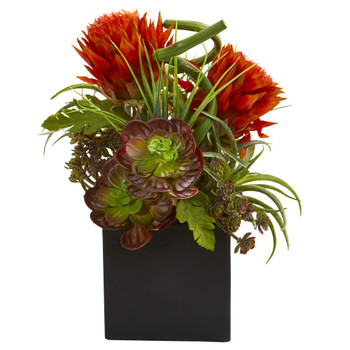 Tropical Flower Succulent Artificial Arrangement in Black Vase - SKU #1669-OR