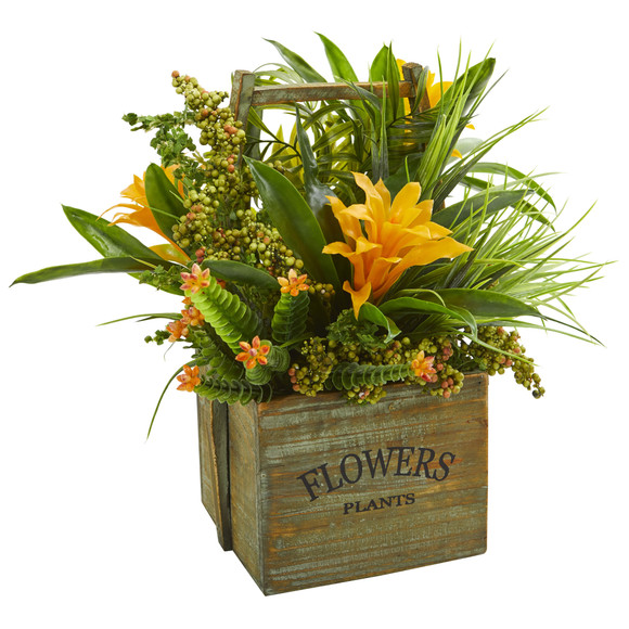 Bromeliad Mixed Greens Artificial Arrangement in Planter - SKU #1670-YL